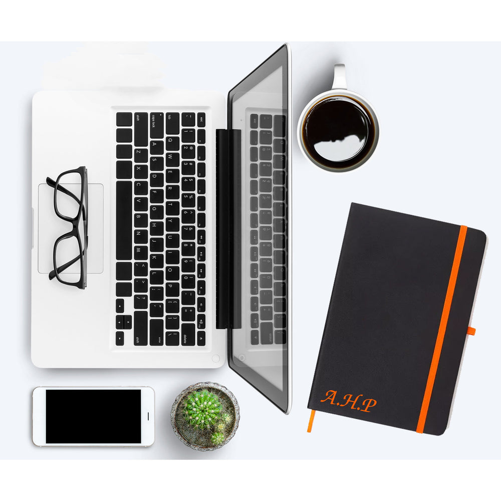 Personalised Initials Orange PU Leather Notebooks