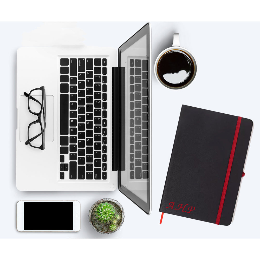 Personalised Initials Red PU Leather Notebooks