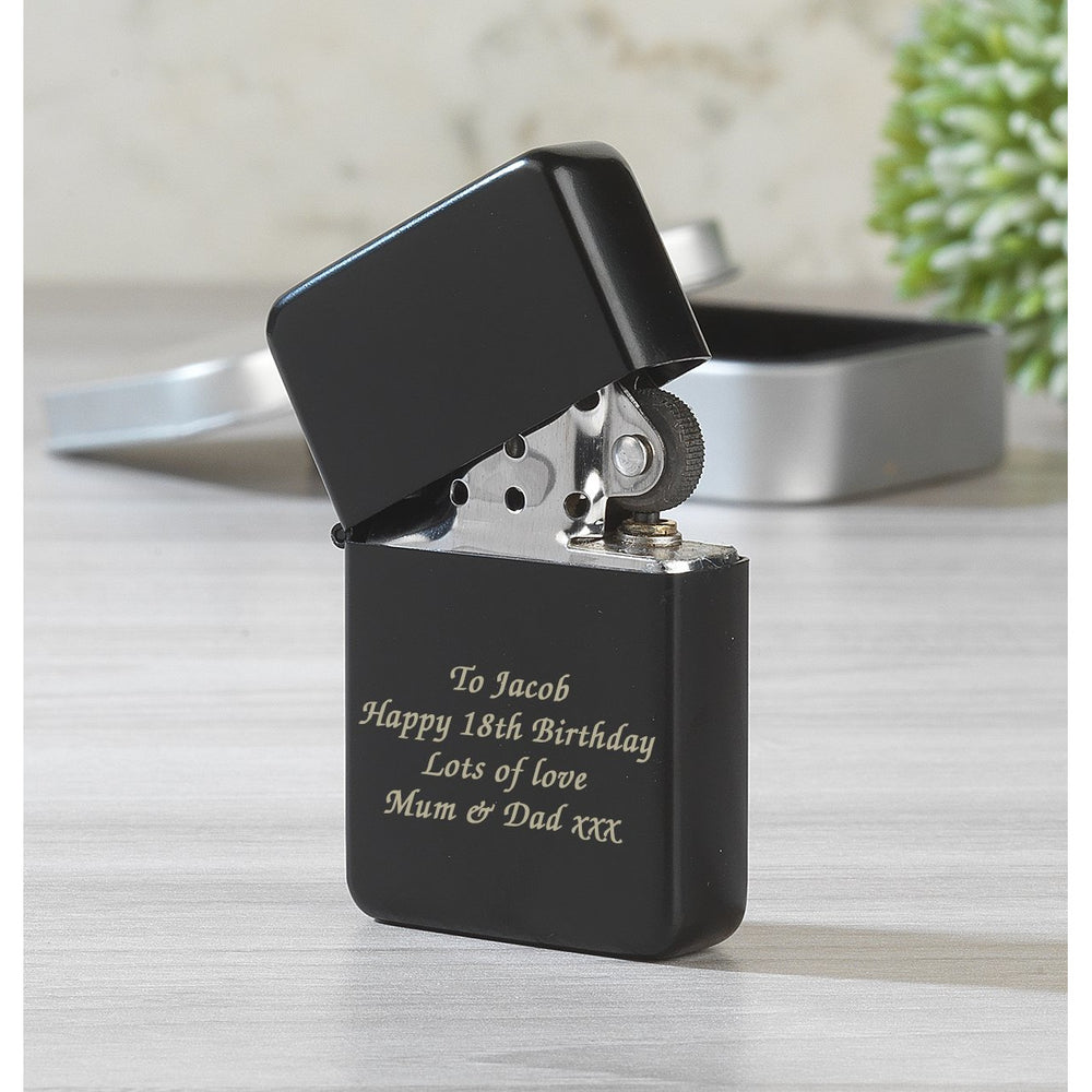 Personalised Message Black Lighter & Gift Box