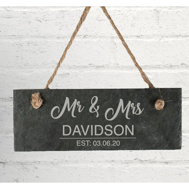 Personalised Mr & Mrs Hanging Slate Sign