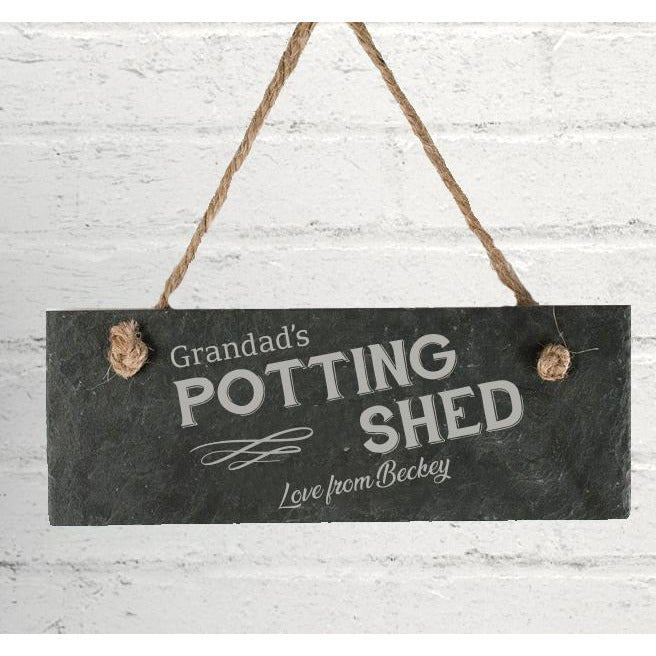 Personalised Potting Shed Hanging Slate Sign