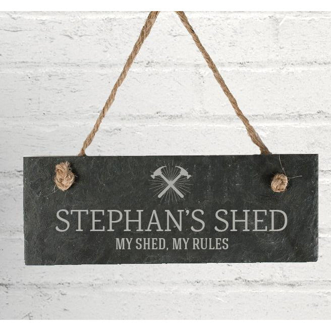 Personalised Shed & Tools Hanging Slate Sign