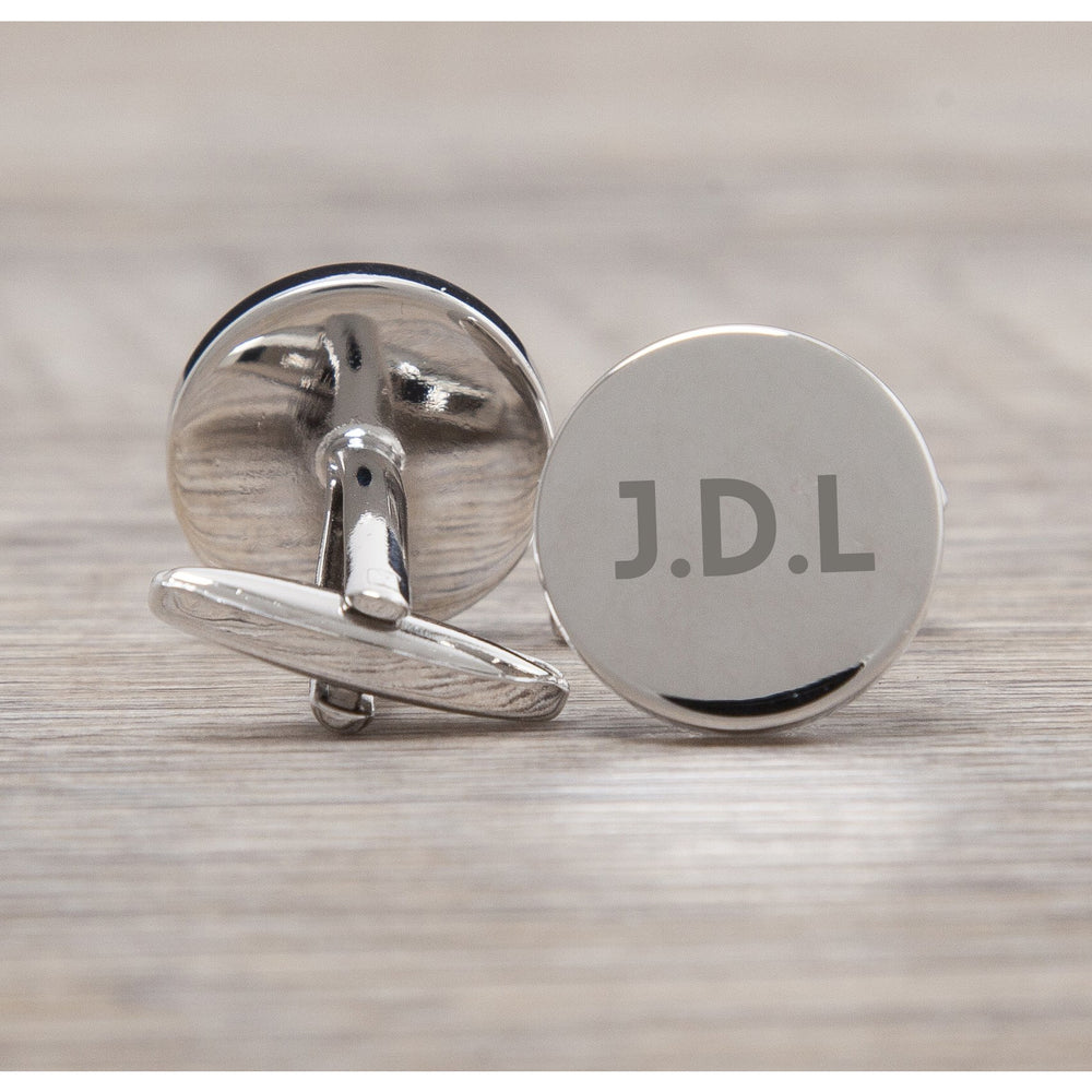 Personalised Silver Circle Initials Cufflinks