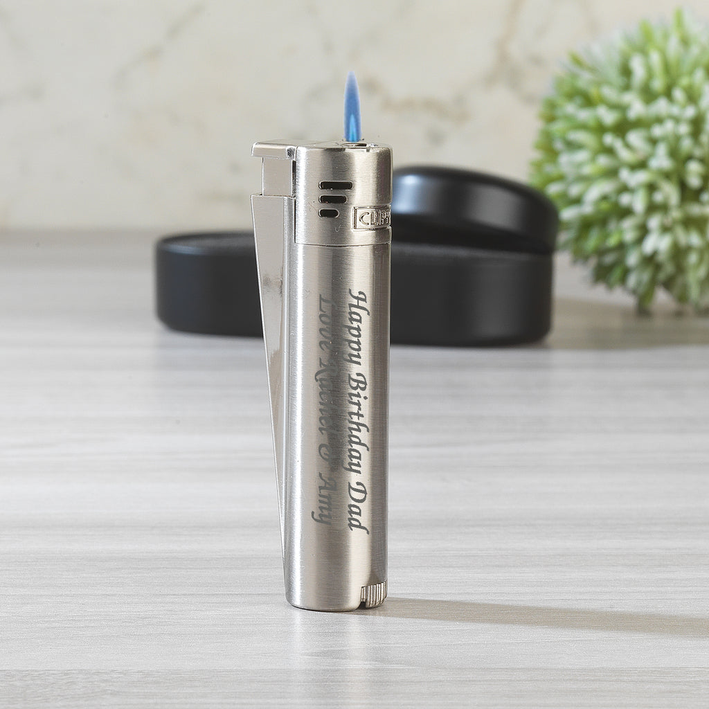 Personalised Silver Jet Flame Clipper Lighter
