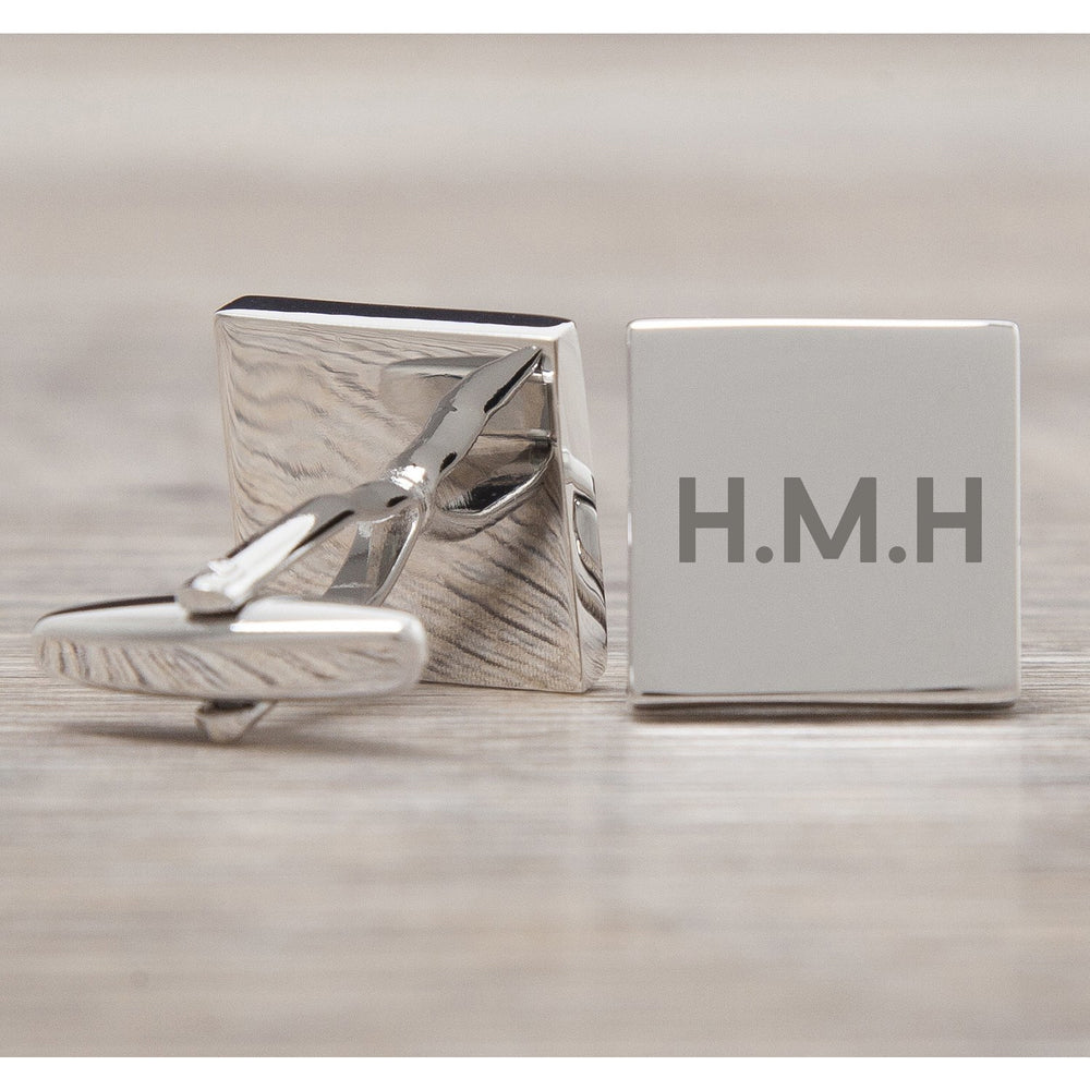 Personalised Silver Square Initials Cufflinks