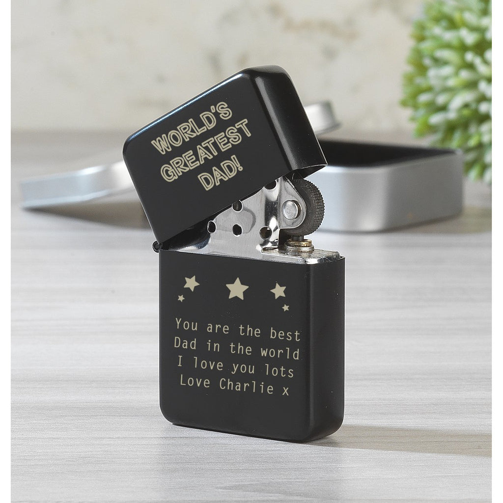Personalised World's Greatest Dad Black Lighter & Gift Box