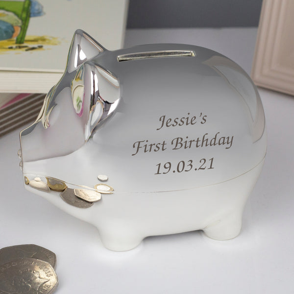 Personalised Message Silver Pig Money Box