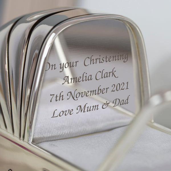 Personalised Message Silver Baby Pram Money Box