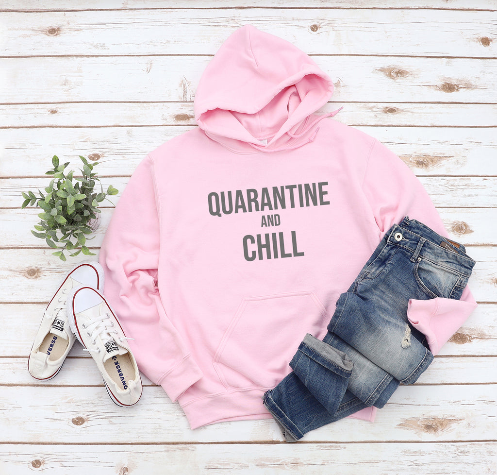 Quarantine And Chill Light Pink Hoodie