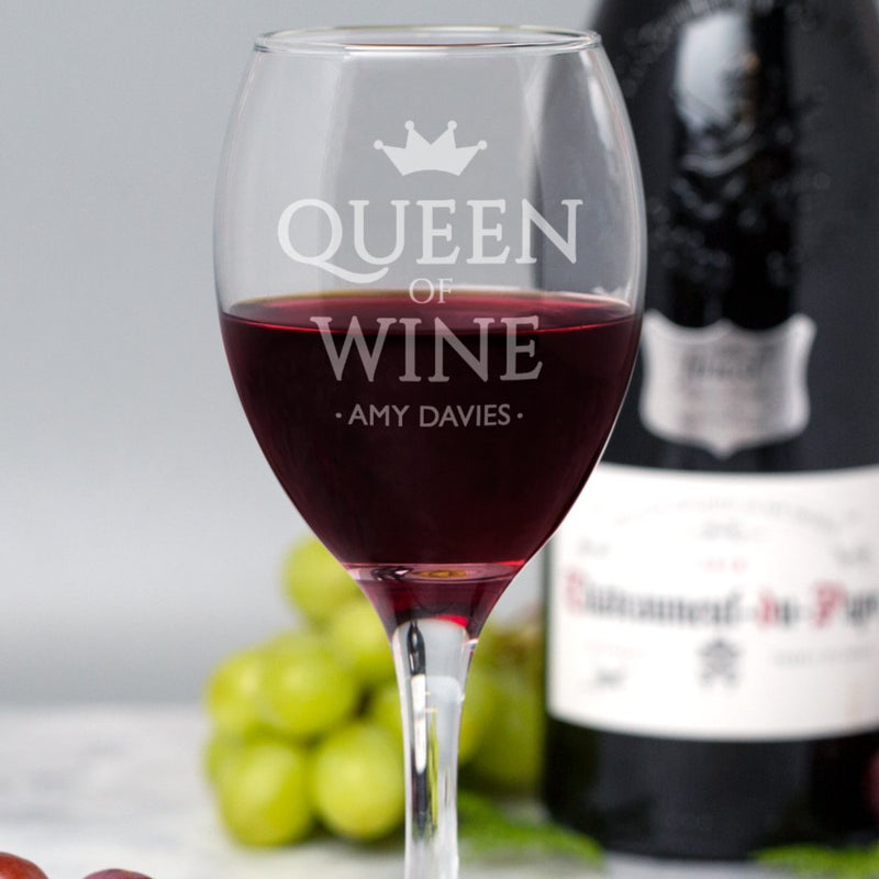 Personalised Queen Of Wine Glass
