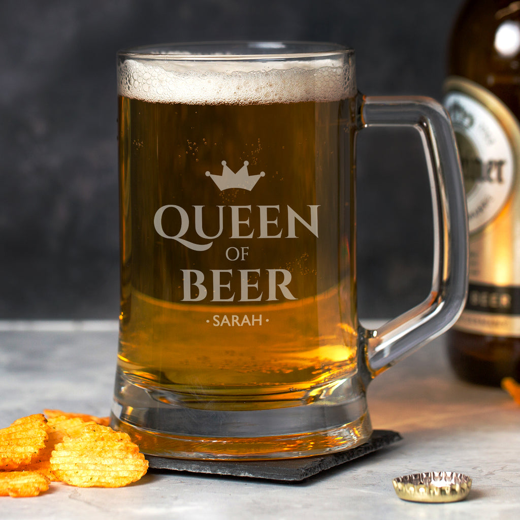 Personalised Queen Of Beer Glass Pint Stern Tankard