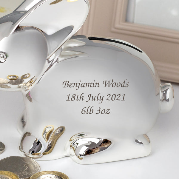 Personalised Message Silver Rabbit Money Box