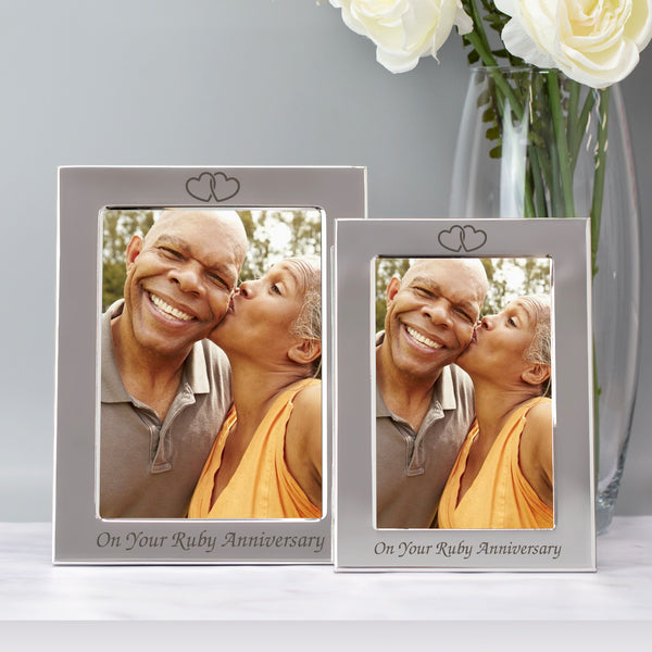 Silver 5x7 On Your Ruby Wedding Anniversary Photo Frame