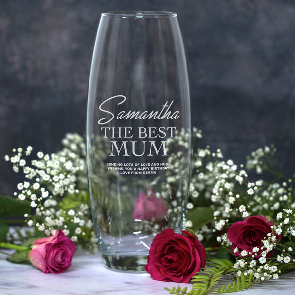 Personalised The Best Mum Glass Bullet Vase