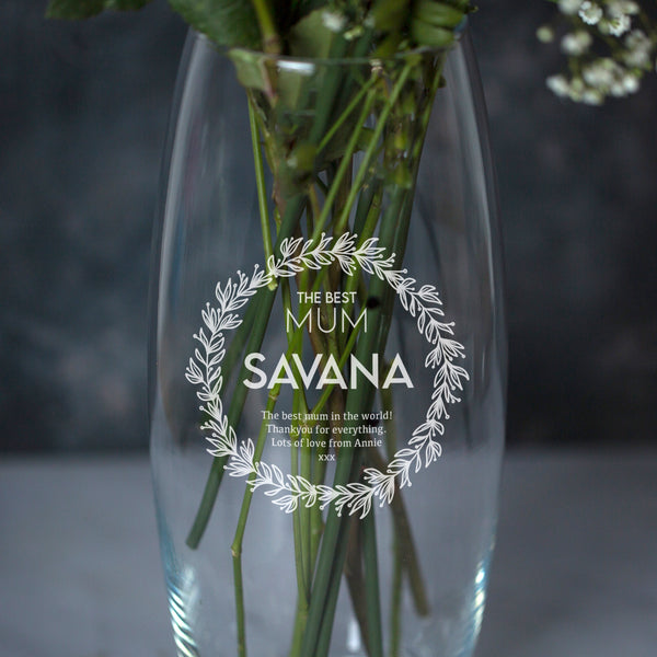 Personalised The Best Mum Floral Glass Bullet Vase
