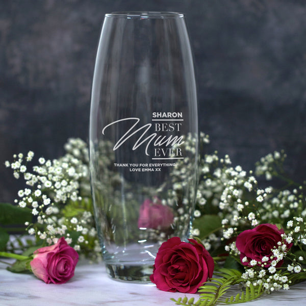 Personalised Best Mum Ever Glass Bullet Vase