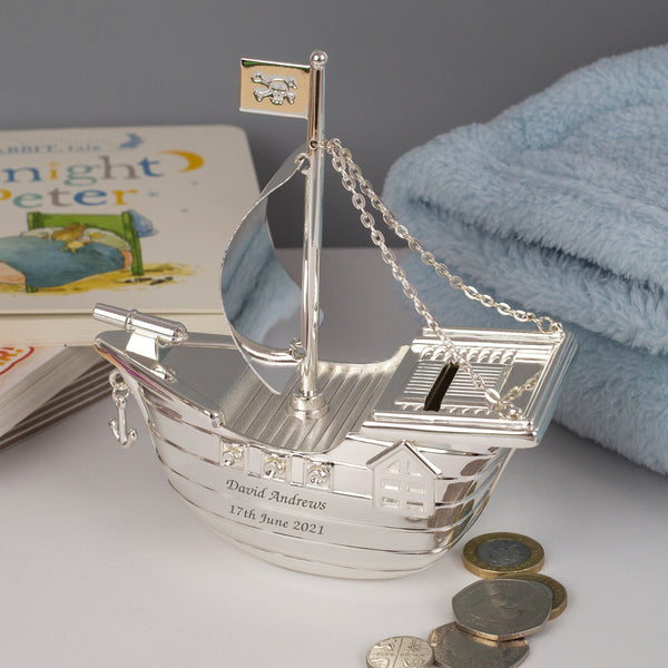 Personalised Message Silver Pirate Ship Money Box