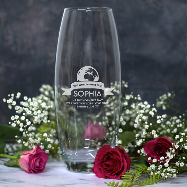 Personalised The World's Best Mum Glass Bullet Vase