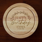 Personalised Birthday Wreath Cheese Board And Knives Set