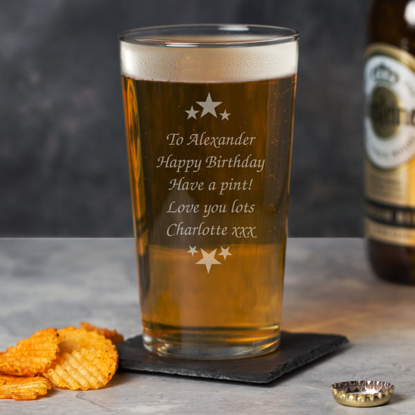 Personalised Stars & Message Pint Glass