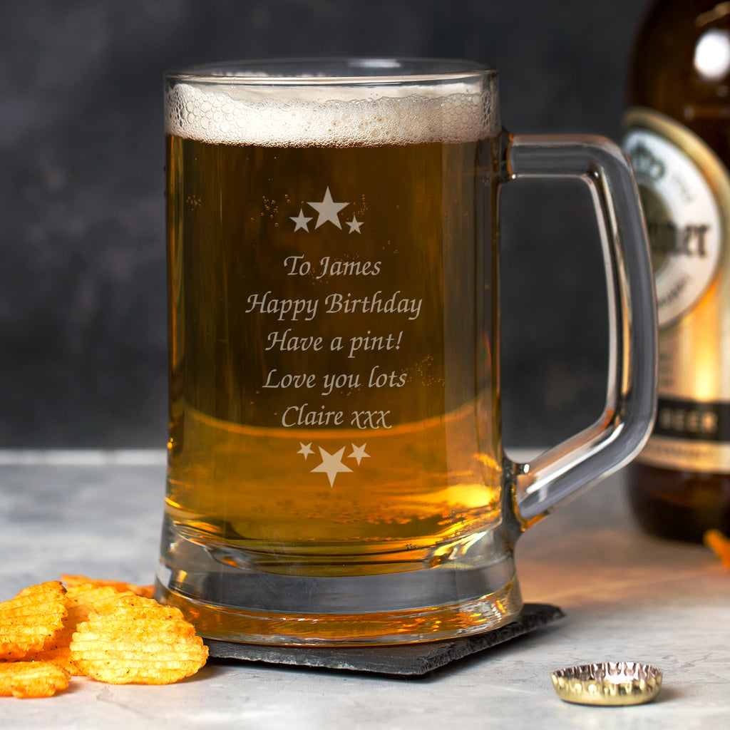 Personalised Stars & Message Glass Pint Stern Tankard
