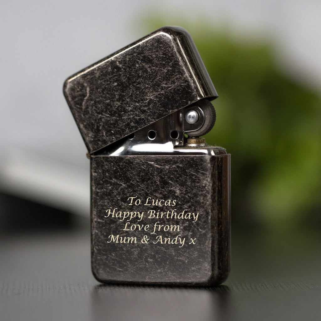 Personalised Message Antique Silver Lighter & Gift Box