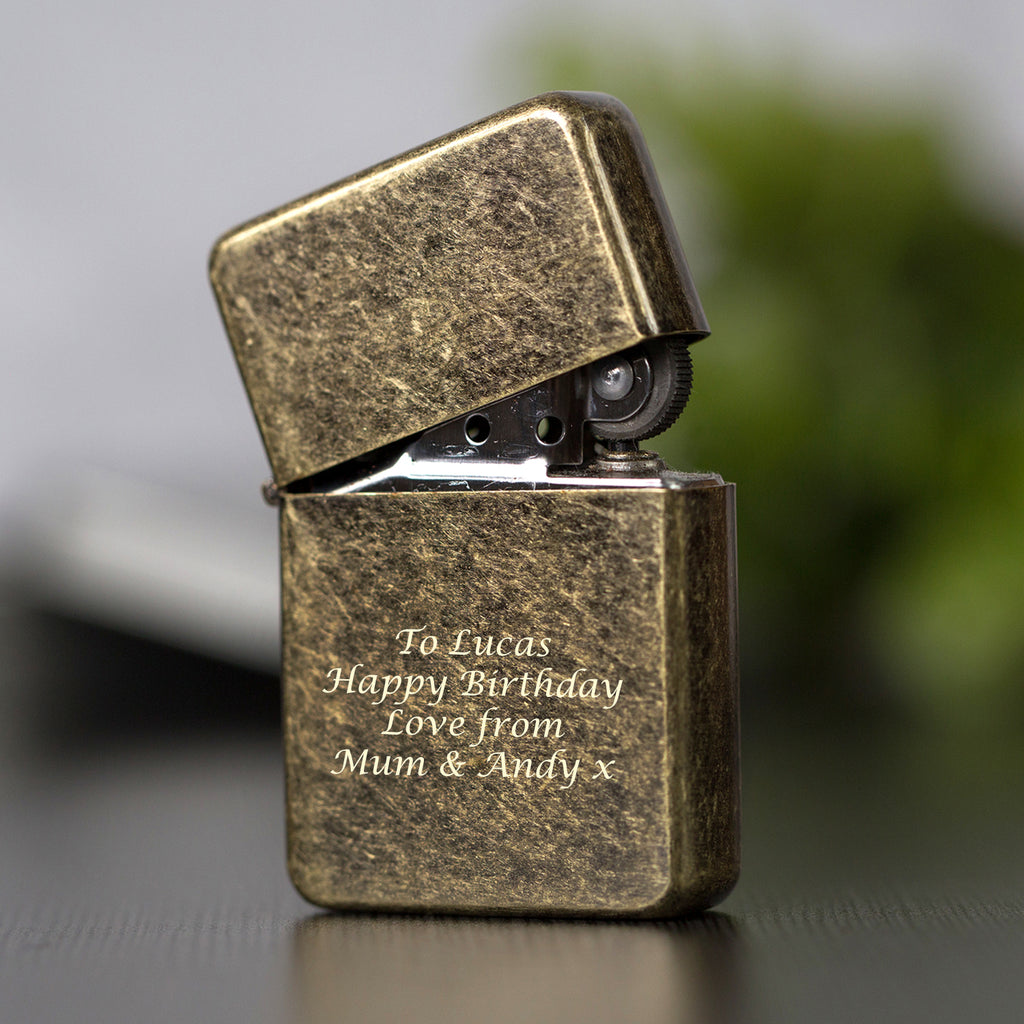 Personalised Message Antique Brass Lighter & Gift Box