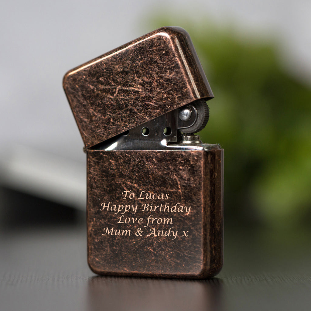 Personalised Message Antique Copper Lighter & Gift Box
