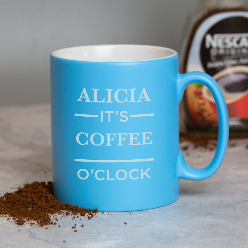 Personalised It's O'Clock Light Blue Mug