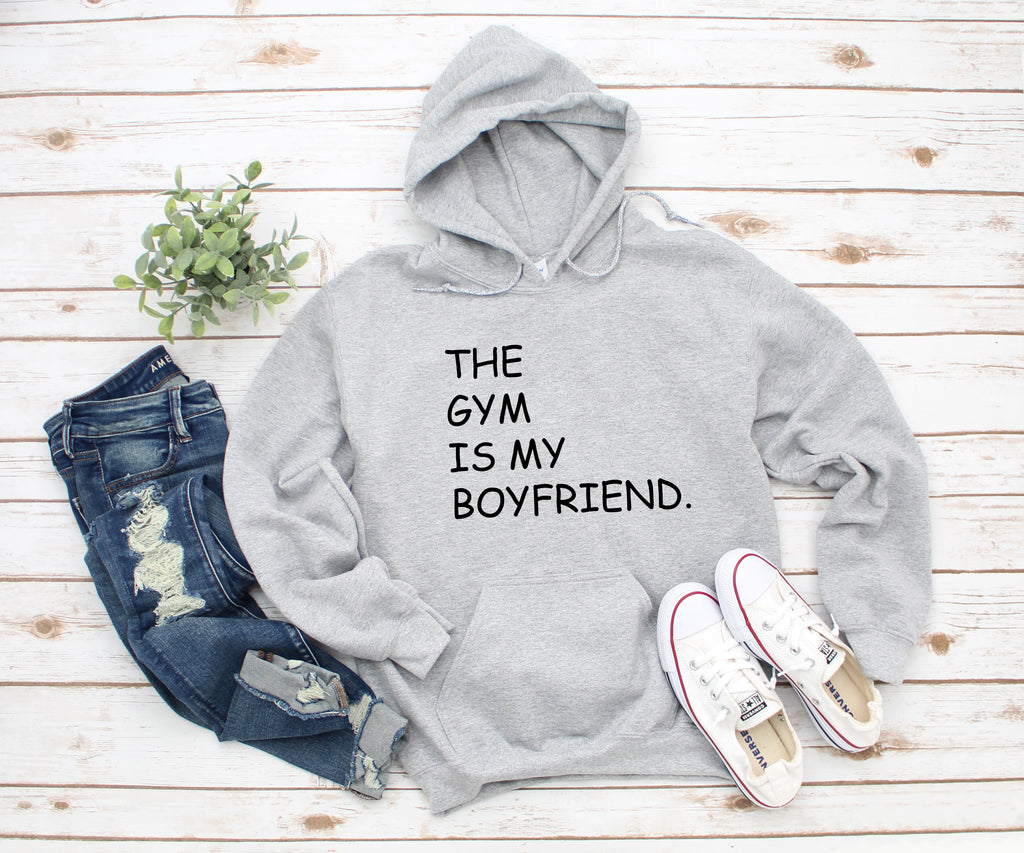 The Gym Is My Boyfriend Grey Hoodie