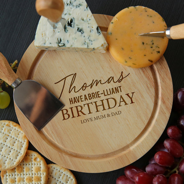 Personalised Brie-lliant Birthday Cheese Board And Knives Set