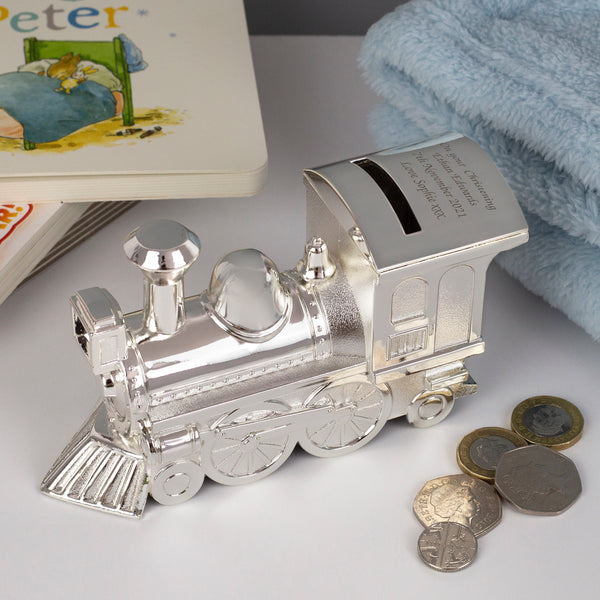 Personalised Message Silver Train Money Box