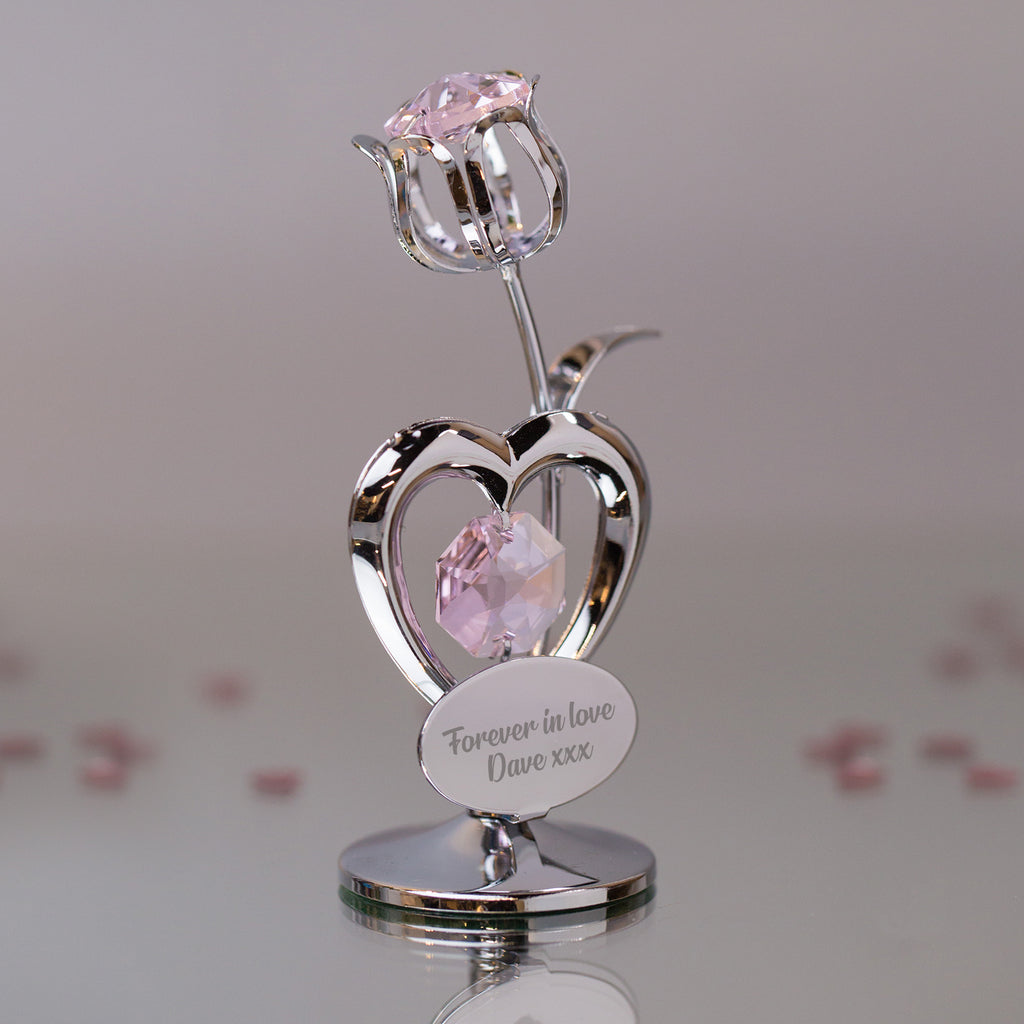 Personalised Crystocraft Tulip Pink Ornament