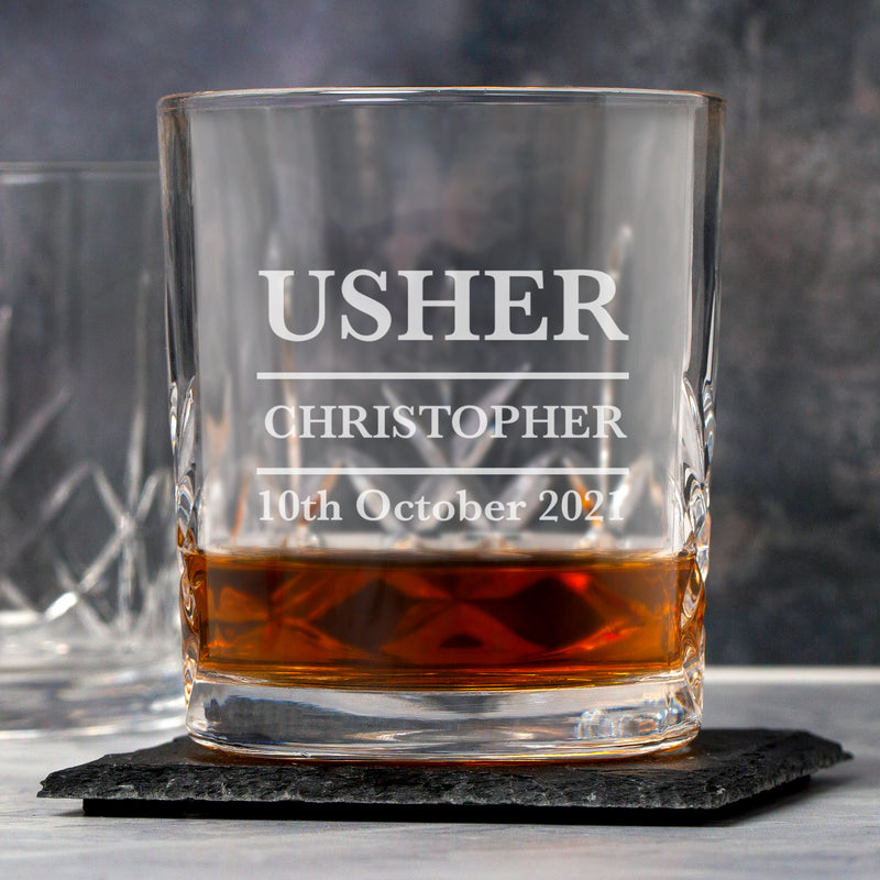 Personalised Usher Glass Crystal Panel Tumbler