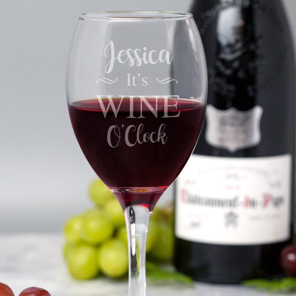 Personalised It's Wine O'Clock Wine Glass