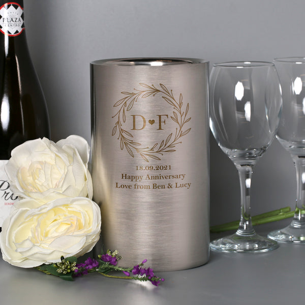 Personalised Monogram Wreath Stainless Steel Wine Cooler
