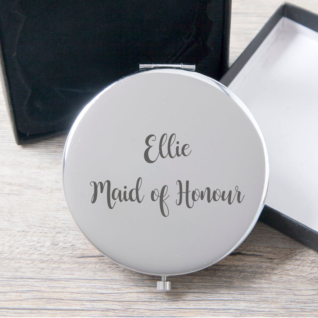 Personalised Maid Of Honour Silver Compact Mirror
