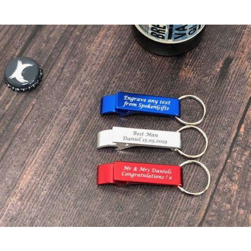 Set of 10 x Personalised Bottle Opener Key Ring In Red, Blue Or Silver