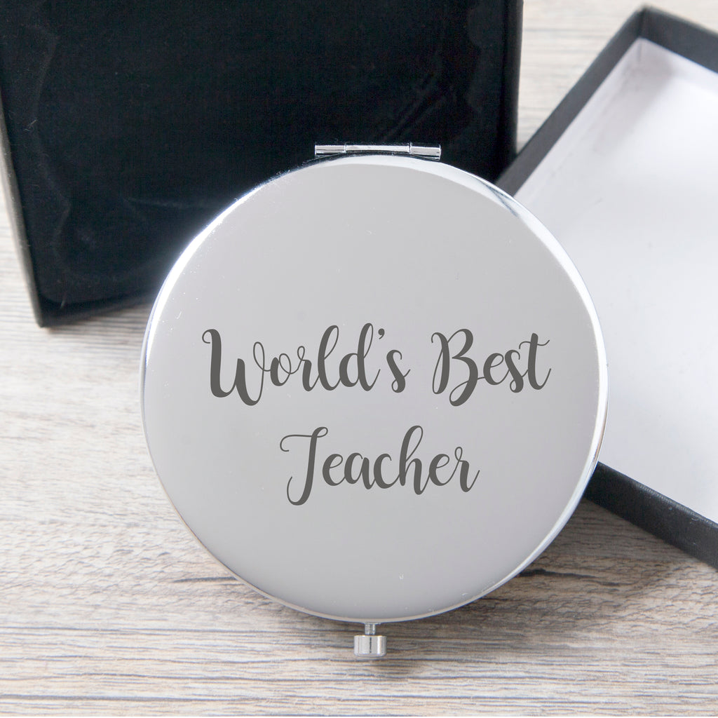 World's Best Teacher Silver Compact Mirror