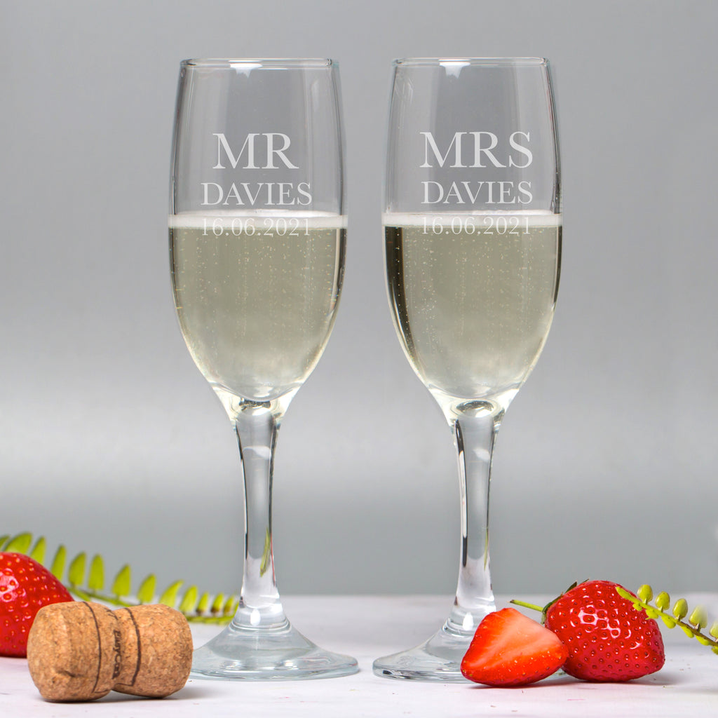 Personalised Mr and Mrs Champagne Flutes and Gift Box Set