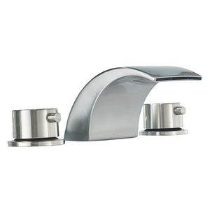 Bathfinesse  Bathroom Sink Faucet LED  Waterfall Two Handle Three Hole 8-16 Inch Widespread Brushed Nickel