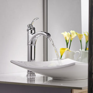 Bathfinesse Bathroom Vessel Sink Faucet  Waterfall Spout Single Handle One Hole Lavatory Deck Mount Chrome
