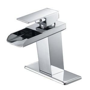 Bathfinesse Modern Single Handle Hole Hole Waterfall Bathroom Sink Faucet Chrome