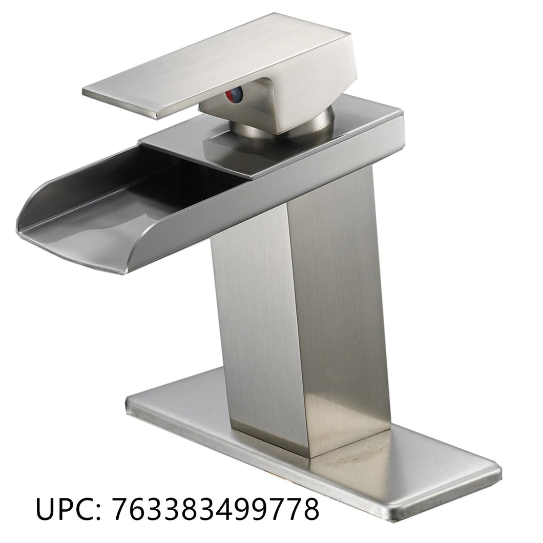 Bathfinesse Modern Single Handle One Hole Waterfall Bathroom Sink Faucet Brushed Nickel