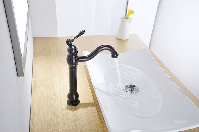 Bathfinesse Single Hole Lever Bathroom Vessel Sink Faucet With Matching Pop Up Drain With Overflow Oil Rubbed Bronze ORB
