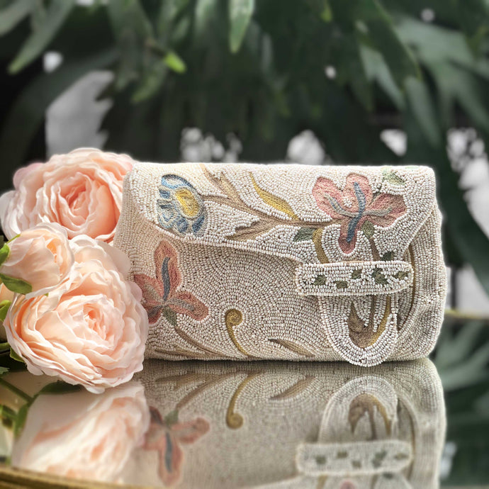 Embroidered Petunia Clutch