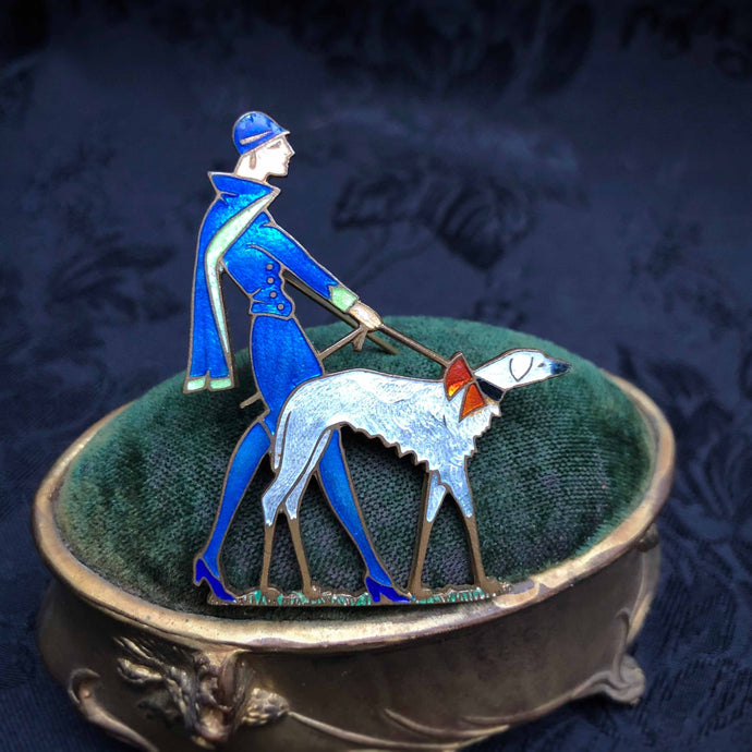 Borzoi Dog Walker Brooch