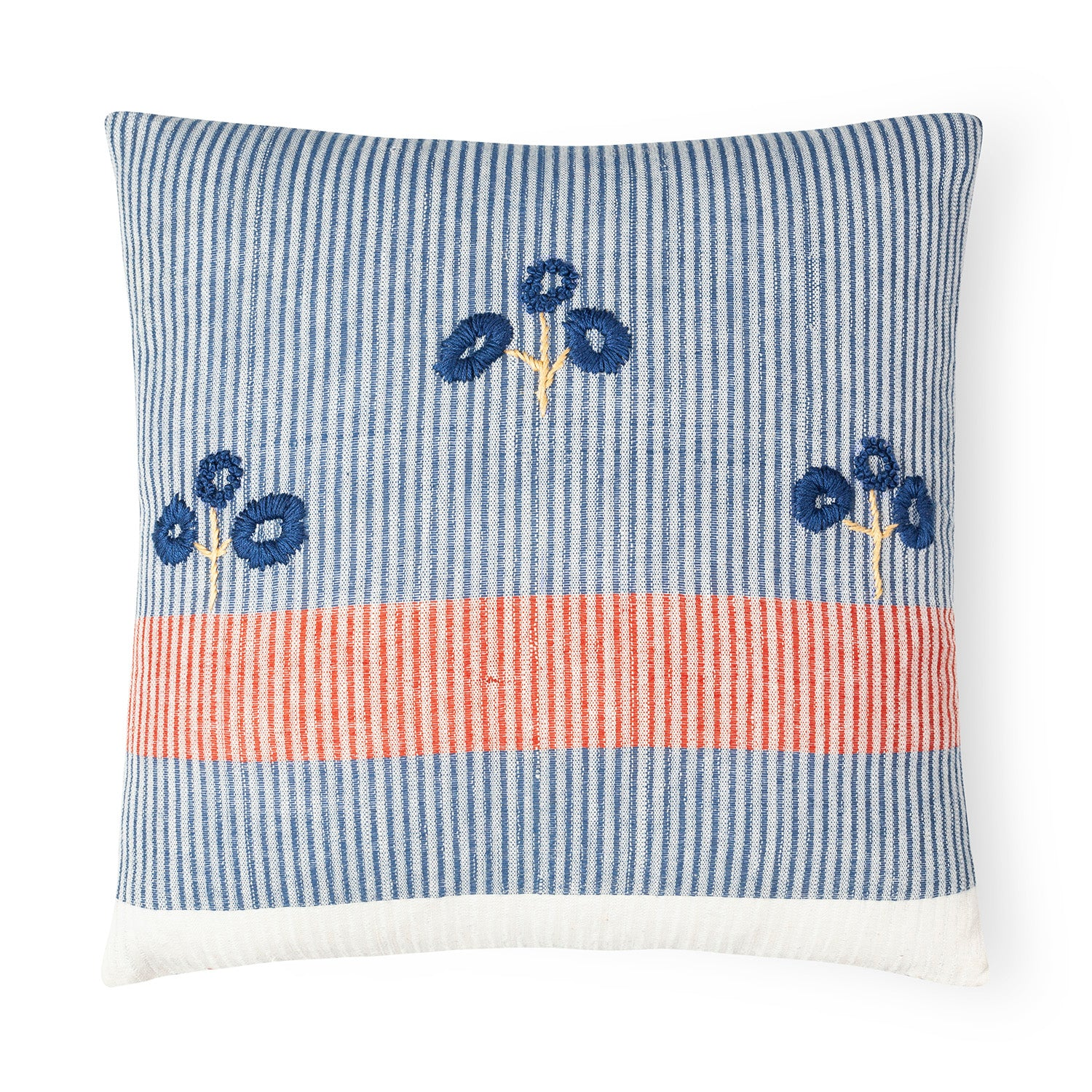 Handwoven & Embroidered Cotton Cushion - 14""