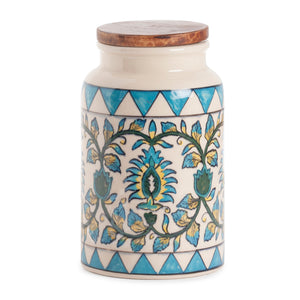 "Handpainted Ceramic Jar - 5""x8.5"""