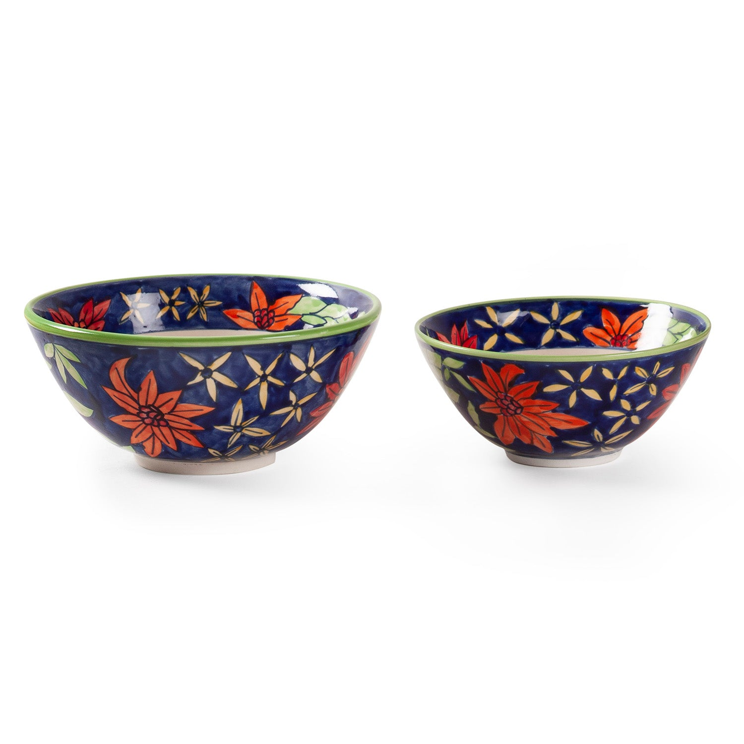 Hand Painted Ceramic Bowls - Set of 2